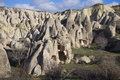 Ancient cave dwellings in the surrounding area of Goreme. Cappadocia Royalty Free Stock Photo