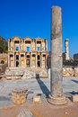Ancient celsius library in ephesus turkey facade of Royalty Free Stock Image