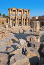 Ancient celsius library in ephesus turkey facade of Stock Images