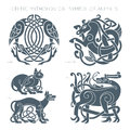 Ancient celtic mythological symbol of animals. Vector illustrati