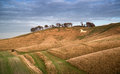 Ancient chalk white horse in landscape at cherhill wiltshire eng beauitful of hill england during autumn evening Stock Images