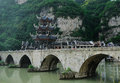 Ancient chinese bridge Stock Photos