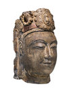 Ancient chinese sculpture isolated carved head of a woman made from gilded limestone on white Stock Photo
