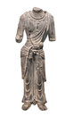Ancient chinese statue isolated limestone full length of a person missing the head and lower arms on white Royalty Free Stock Photos