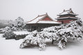 Ancient chinese tomb architecture qing dynasty of the first emperor in the snow Stock Photos