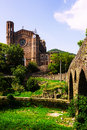 Ancient church and medieval bridge in sant joan les fonts catalonia spain Royalty Free Stock Photography