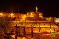 Ancient Citadel inside Old City at Night, Jerusalem Royalty Free Stock Photo