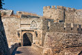 Ancient city walls of  Rhodes Stock Images