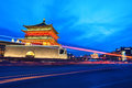 Ancient city xi night bell tower light trails street Stock Images