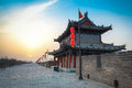 Ancient city of xi an scenery tower on wall at dusk in china Stock Images