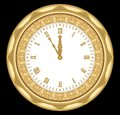 Ancient clock of the yellow metal with ornaments and roman numerals, vintage isolated object on black background. Clock in art dec Royalty Free Stock Photo