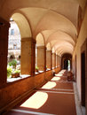 Ancient cloister with arches and garden in artena italy Stock Photo