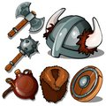 Ancient clothes and weapons of Vikings. Mace, axe, helmet with horns, flask, fur coat and tambourine. Six icons isolated