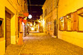 Ancient cobbled street of Varazdin evening view Royalty Free Stock Photo