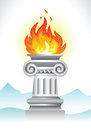 Ancient column and fire illustration of the with flame on the landscape background Royalty Free Stock Photo