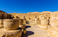 Ancient columns in the Medinet Habu Temple Royalty Free Stock Photo