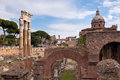 Ancient columns and ruins in Fori imperiali at Rome Royalty Free Stock Photo
