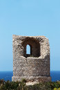 Ancient costal watchtower capo rama sicily the ruins of an against the sea from near palermo portrait cut Royalty Free Stock Photos