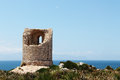 Ancient costal watchtower capo rama sicily the ruins of an against the sea from near palermo some space for text on the right Royalty Free Stock Images