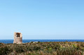Ancient costal watchtower capo rama sicily a seascape with the ruins of an against the sea from near palermo space for text on top Stock Images