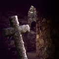 Ancient cross old stone in church ruin Stock Photos
