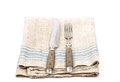 Ancient cutlery on linen colorful and crisp image of Royalty Free Stock Photography