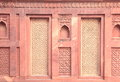 Ancient designer wall of red fort agra india Stock Photo