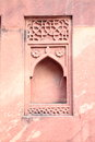 Ancient designer wall of red fort agra india Royalty Free Stock Photo