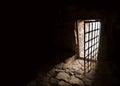 Ancient door of dark room Royalty Free Stock Photo
