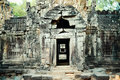 An ancient door of temple at angkor wat siem reap cambodia Royalty Free Stock Images