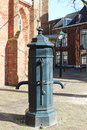 Ancient double water pump leeuwarden an old at the jacobijnerkerkhof in the historical town of located in the north of holland in Stock Photos