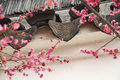 Ancient Eaves Tile and Peach Blossom Stock Photo