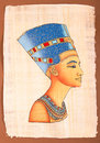 Ancient egyptian papyrus nefertiti portrait hand made illustration Stock Photography