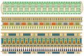 Ancient egyptian patterns three rows of border pattern designs Stock Photography