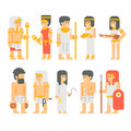 Ancient egyptian people set cartoon design