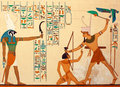 Ancient egyptian pharaonic art hieroglyphic carving paintings Royalty Free Stock Photography
