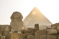 Ancient Egyptian Pyramid of Khafre Giza and Great Sphinx. Royalty Free Stock Photo