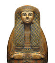 Ancient egyptian sarcophagus isolated decorated of a woman on white Stock Photography