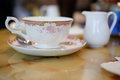 Ancient English porcelain tea cup and saucer Royalty Free Stock Photo