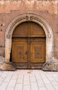 Ancient entrance door in wittenberg made of wood Stock Photo