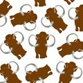 Prehistorical animal mammoth pattern on white background