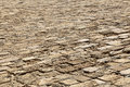 Ancient floor made of stone bricks set diagonally to the lens shot from a slight ly high angle thus creating diminishing Royalty Free Stock Image
