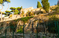 Ancient fortifications aventine hill rome italy view street Royalty Free Stock Photo