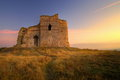 Ancient fortress captured during sunset magnificent landscape autumn beautiful soft colors Royalty Free Stock Photo
