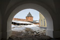 Ancient  fortress Staraya Ladoga of winter. Royalty Free Stock Photo