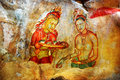 Ancient fresco on mount sigiriya sri lanka depicting two maiden with fruits the rock fortress lion s rock is a large Royalty Free Stock Photography
