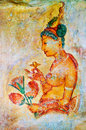 Ancient frescos on mount Sigiriya,  Ceylon Royalty Free Stock Images