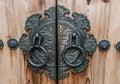 Ancient Gate and door lock of Korean Palace closeup. Royalty Free Stock Photo