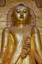 Ancient golden buddha statue in ananda temple old bagan myanmar Royalty Free Stock Image