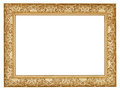 Ancient golden carved wide wooden picture frame Royalty Free Stock Photo